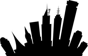 Cartoon skyline silhouette of the downtown of Melbourne, Australia.