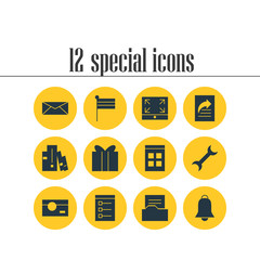 Vector Illustration Of 12 Internet Icons. Editable Pack Of Date Time, Maximize, Settings And Other Elements.