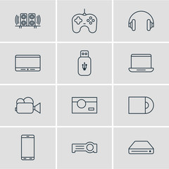 Vector Illustration Of 12 Accessory Icons. Editable Pack Of Headset, Usb Card, Memory Storage And Other Elements.
