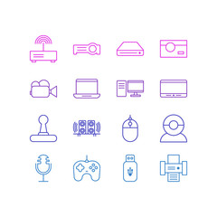Vector Illustration Of 16 Technology Icons. Editable Pack Of Modem, Usb Card, Video Chat And Other Elements.