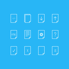 Vector Illustration Of 12 Page Icons. Editable Pack Of Done, HTML, Download And Other Elements.