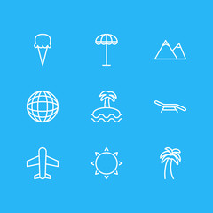 Vector Illustration Of 9 Season Icons. Editable Pack Of Hill, Sunny, Umbrella And Other Elements.