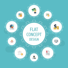 Flat Icons Pie Bar, Card, Algebra And Other Vector Elements. Set Of Recording Flat Icons Symbols Also Includes Tax, Card, Money Objects.