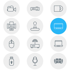 Vector Illustration Of 12 Device Icons. Editable Pack Of Floodlight, Sound Recording, Loudspeaker And Other Elements.