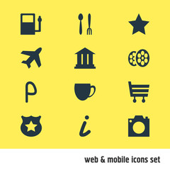 Vector Illustration Of 12 Location Icons. Editable Pack Of Photo Device, Cafe, University And Other Elements.
