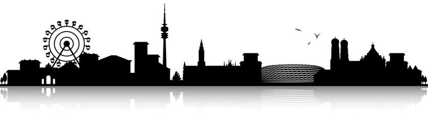 München Skyline Silhouette schwarz