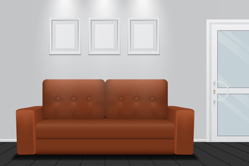 Room interior with brown sofa, vector design
