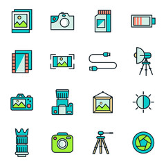 Photography Icons In Flat Color