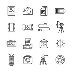 Photography Icons In Outline Style