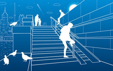 Stairs on the river embankment, people on steps. Doves are sitting on parapet. Evening city on the background, vector design art