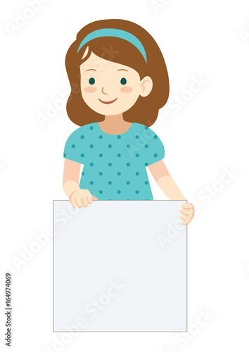 cartoon little girl holding blank sign template stock image and