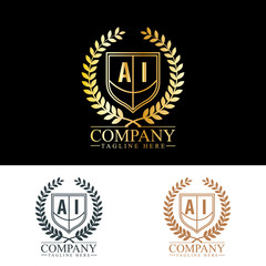 Initial Letter AI Luxury. Boutique Brand Identity