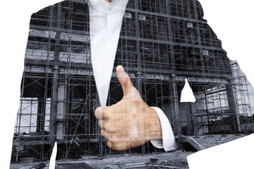 Business man thumb up for construction site