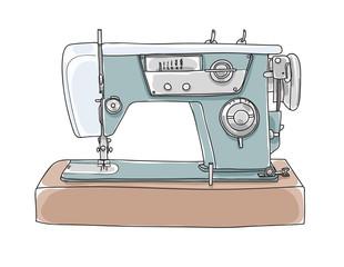Sewing  Retro Machine cute vintage hand drawn vector  art illustration