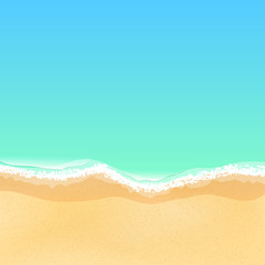 Top view of a cartoon sea beach. Bright sandy beach. Sea tide, sea waves. Place for your project