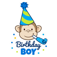 "Vector hand drawn cartoon illustration of a happy monkey face in a party hat with party blower horn in mouth, with words ""Birthday Boy"" below."