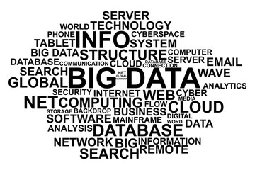 Big data terms on white background vector