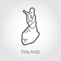 Linear icon of map of Finland country. Abstract outline silhouette pictograph for cartography, geography, education projects and other design needs. Vector illustration