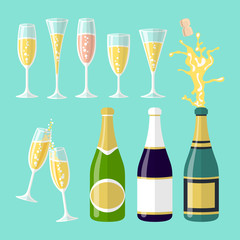 vector illustrations of several champagne flat celebration. Open bottle. A set of glasses of wine of different shapes