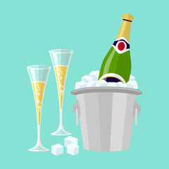 Champagne bottle in bucket with ice and glasses of champagne, vector flat glasses of wine