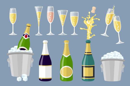 Champagne bottle and glasses, set of cartoon vector illustrations isolated on grey background. Closed and open champagne bottle and glasses, holiday toast, cork jumping out with explosion