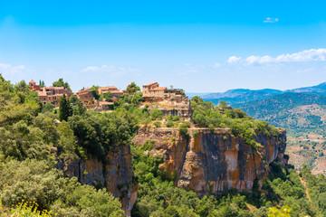 Foto op Canvas Blauw View of the village Siurana de Prades, Tarragona, Catalunya, Spain. Copy space for text.