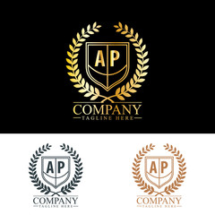 Initial Letter AP Luxury. Boutique Brand Identity