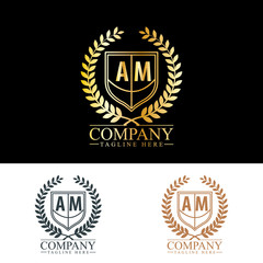 Initial Letter AM Luxury. Boutique Brand Identity