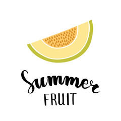 Melon flat icon, symbol of summer, hand lettering