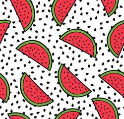 Watermelon summer seamless pattern, flat simple slices of watermelon