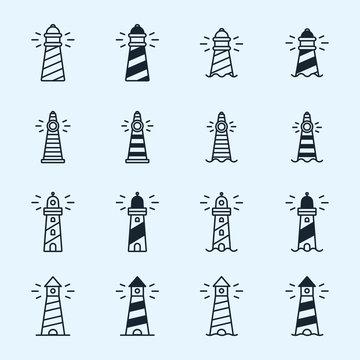 Lighthouse Beacon Sea Light Sign Symbol Minimalistic Flat Line Stroke Vector Icon