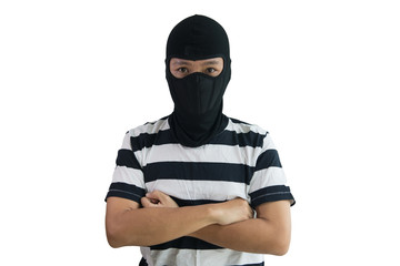 Isolate robber, criminal, terrorist man concept wearing strip tee shirt and robber cover head.