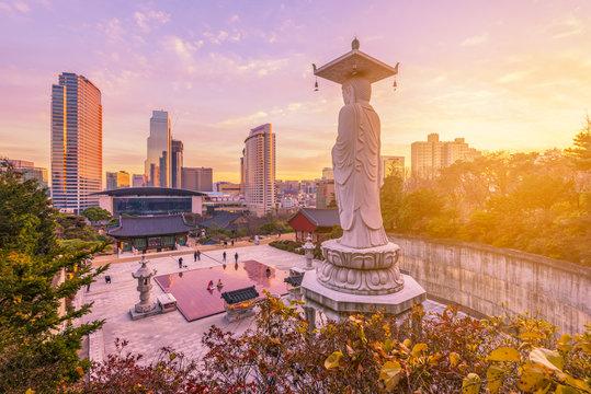 Sunset at Bongeunsa temple of downtown skyline in Seoul City, South Korea