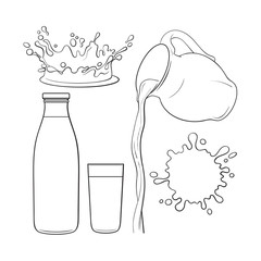 Splashing and pouring liquid bottle, jug, glass, sketch vector illustration isolated on white background. Hand drawn glass, bottle with liquid and pouring from jug