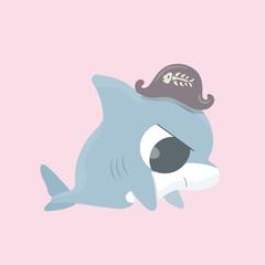 Cartoon shark vector illustration.