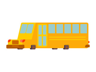 School bus isolated. Yellow bus for transportation of children