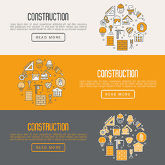 Building construction concept with thin line icons. Vector illustration for banner, web page, announcement.