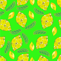 Drawing Doodle lemon on green background