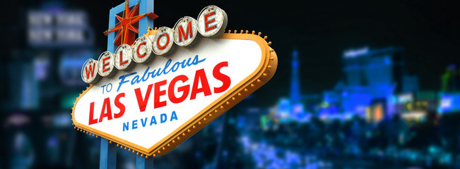 Fotorolgordijn Las Vegas Welcome to fabulous Las Vegas sign