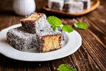 Lamington cakes with chocolate and coconut coating