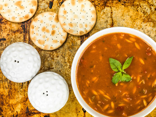 Bowl of Traditional Italian Style Minestrone Soup