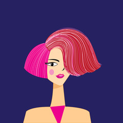 Vector illustration portrait of a beautiful girl