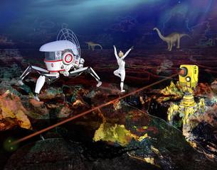 Strange futuristic planet illustration