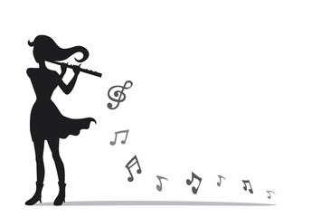 Musician playing a flute in mini concert. Vector style of a woman playing a flute with music notes. Silhouette on white background