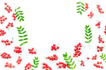 Berry frame. Red currant and leaves on white background top view copyspace