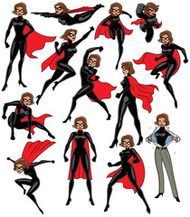 Super Heroine Set / Super heroine over white background in 13 different poses.