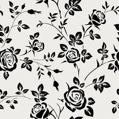 Seamless pattern with black rose silhouette on white background. Floral wallpaper