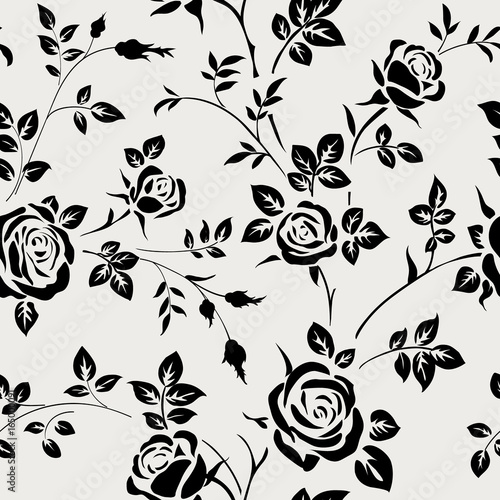 """Black Flower Silhouette Pattern Royalty Free Stock Images: """"Seamless Pattern With Black Rose Silhouette On White"""
