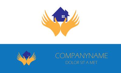 hand holding home logo