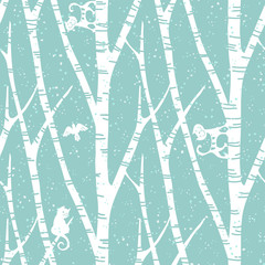 seamless trendy pattern with abstract birch trees, cats and birds. Floral vintage wallpaper. Fanny vector illustration